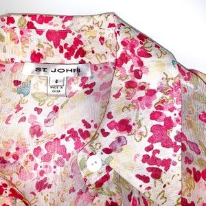 Vintage St John button up sheer top 100% silk